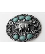Hommes Occidental Boucle Argent Métal Cow-Boy Bison Buffalo Ox Bleu Turq... - $28.27