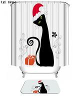 Christmas Cat Shower Curtain Waterproof Polyester Fabric & Bath Mat For Bathroom - $15.30+