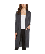 Matty M Open Front Duster Cardigan in Charcoal Grey, Size Medium - $39.59