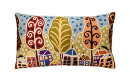 Houses Trees Birds Karla Gerard Accent Pillow Cover Handembroidered Wool... - $59.00