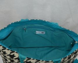 GANZ Brand ER39334 Style 101 Large Burlap Black Cream Purse Teal Handle image 5