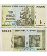 Zimbabwe 10 Trillion Dollar Bank Note, Uncirculated serial no. of my choice - $10.95