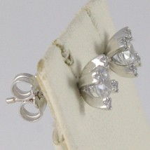 18K WHITE GOLD 7 MM FLOWER CROSS EARRINGS WITH ZIRCONIA 1.2 CARATS MADE IN ITALY image 2