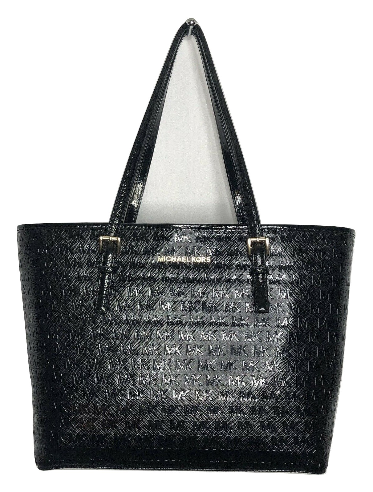 249611521724 MICHAEL KORS Jet Set Tote Bag Signature Patent Leather Med Carryall Black   248 -  159.64