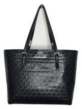 MICHAEL KORS Jet Set Tote Bag Signature Patent Leather Med Carryall Blac... - $159.64