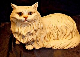 Cat StatueGlazed CeramicAA18-1292 Vintage White image 1