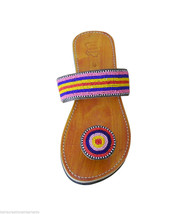 Women Slippers Indian Handmade Traditional Leather Flip-Flops Camel US 7   - £23.19 GBP