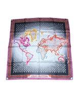 "Louis Vuitton Sciarpa World map 86 CM Monogramma Seta 34"" CM Grigio Viol... - $528.98"