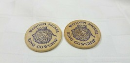 TWO 1981 KING COW CHIP WOODEN NICKELS Beaver Oklahoma Tossing Festival A4 - $11.25