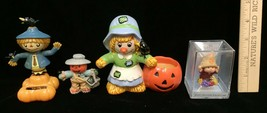 Halloween Scarecrow Figurines Pumpkins Hallmark Happy Hatters Decor Lot of 4 - $14.84