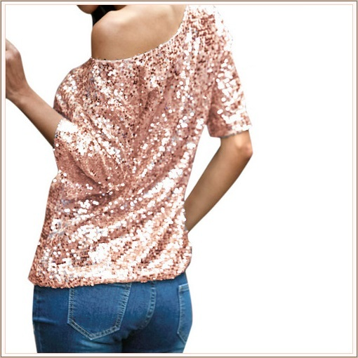 Pink Sparkling Sequined Shimmer Short Sleeve Off Shoulder Tank Tee Shirt Top