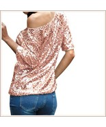 Pink Sparkling Sequined Shimmer Short Sleeve Off Shoulder Tank Tee Shir... - $63.95