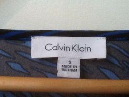 Calvin Klein Top Drape Neck 3/4 Sleeve Blue Black Print S Small image 3