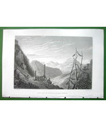 ALPS View of Mont Genevre from Italy Cesana - SCARCE 1836  Engraving Print - $16.83