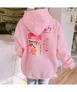Kawaii Clothing Hoodie Sweatshirt Pink Milkshake Juice Strawberry Heart Japanese - $19.95