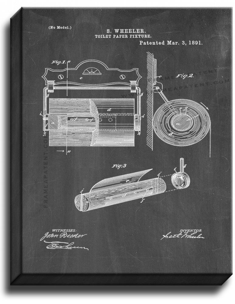 Primary image for Toilet Paper Holder Patent Print Chalkboard on Canvas