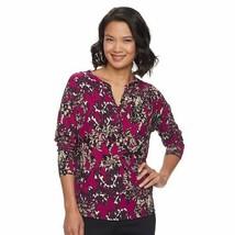 Dana Buchman Womens Pink Black Top Long Sleeve Damask print Sz S NWT - $24.74