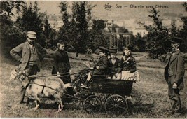 postcard near SPA children  with cart wagon c1900 even the goat is posin... - $28.71