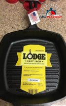 Lodge 10.5 Inch Square Cast Iron Grill Pan. Pre-seasoned Grill Pan with Easy Gre - $39.99