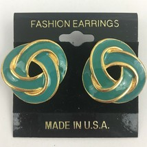 Vintage Infinity Knot Enamel Pierced Earrings Gold Tone Knotted Look NOS - $7.87
