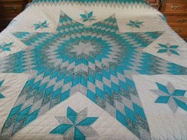 "Lone Star King Quilt Dark Aqua Turquoise Blue Hand Quilted & Pieced 106""... - $846.45"