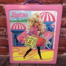 Vintage Mattel Barbie Pink Carrying Case Vinyl 1989 Doll Fashion Wardrob... - $25.00