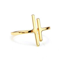 2 pieces of Two bar, double bar, parallel bars adjustable golden ring (J... - $5.00
