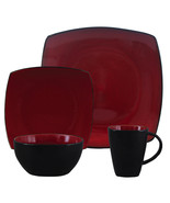 Gibson Soho Lounge 16 Piece Square Stoneware Dinnerware Set in Red and B... - $84.66