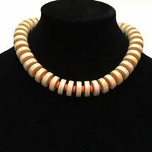 MONET Choker Necklace Cream Orange Round Bead Pueblo Statement Jewelry Vintage - $41.14