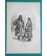 RUSSIA Ostyak People of Siberia Costumes - 1884 Antique Print - $18.00