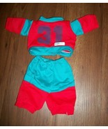 CABBAGE PATCH KIDS VINTAGE  Doll Clothes Sweat Suit, Football Suit RED/TURQUOISE - $8.99