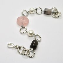 Bracelet the Aluminium Long 21 Inch with Pink Quartz Chalcedony and Pearls image 4