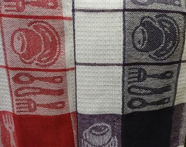 TEA TOWELS Set of 2 Red Purple Check Coffee Cup Utensils Cotton Kitchen NEW image 6