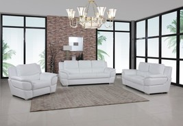 Global Furniture 4572 Contemporary White Premium Leather Match Sofa Set 3 Pcs