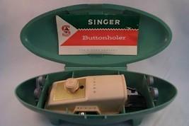 Vintage Singer Buttonholer 1960's Vert Étui Bouton Holer Trou Machine - $14.74