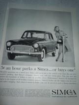 Vintage Simca Chrysler Parking Miter Print Magazine Advertisement 1960 - $9.99