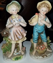 Lot of 2 Vintage HOMCO Figurines Boy w/ Chicken Girl w/ Doves Japan #8880 EUC - $7.71