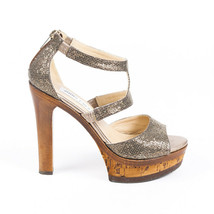 Jimmy Choo Glitter Leather Cork Platform Sandals SZ 37 - ₹9,240.52 INR