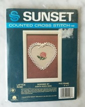 Vintage Sunset Lattice Rose Counted Cross Stitch Kit - Includes Heart-Shaped Mat - $9.45