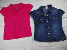 Lot of 2 Girls Shirts Pink Collar & Jean Shirt Size 5 - A1680 - $9.45