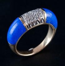 Vintage 1960's 18k Yellow Gold Inlay Cut Lapis Lazuli & Diamond Ring .18ctw - $870.00