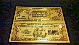 <OLD STYLE U.S  GOLD NOTE>RAISED DETAIL$10,000 Rep*BILL W/COA+COIN&Flake - $14.04