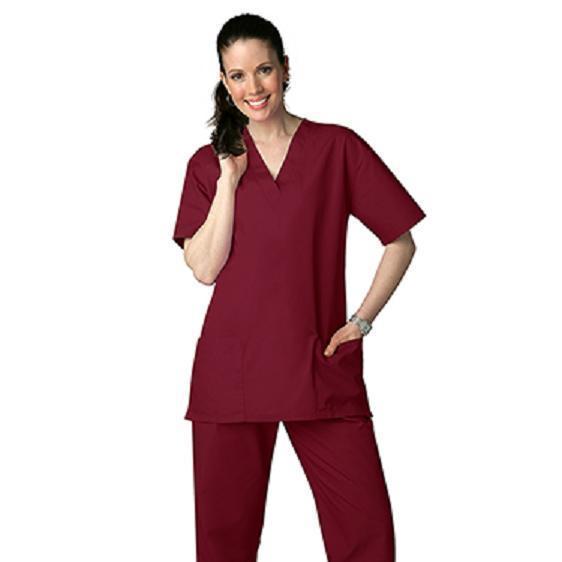Scrub Set Burgundy V Neck Top Drawstring Waist Pants M Adar Medical Uniforms New