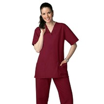 Scrub Set Burgundy V Neck Top Drawstring Waist Pants M Adar Medical Unif... - $34.89