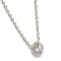 Necklace White Gold 750 18k,Central & Frame of Diamonds,0.24 CT,Flower,R... - $1,124.42