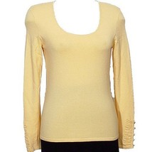 DANA BUCHMAN Butter Crystal Cuff Rayon Blend Knit Top M Yellow NEW - $79.99