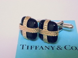 Tiffany & Co. Cuff Links ~ Solid 14 K Yellow Gold ~ Black Onyx ~ Silver ... - $589.96