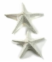 Set of 2 Starfish Design Figurines Seaside Decor Off White Polystone - $98.99