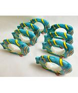 Ocean Fish Swimming Napkin Holder Rings Dinning Table Decor Set of 8 Blue - $23.99