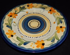 Table Tops Gallery Bella Flora Salad Plate Hand Painted Daisy Blue Yellow  - $19.79